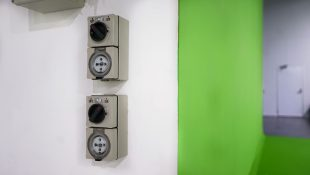 Custom built film production studio featuring multiple power plugs